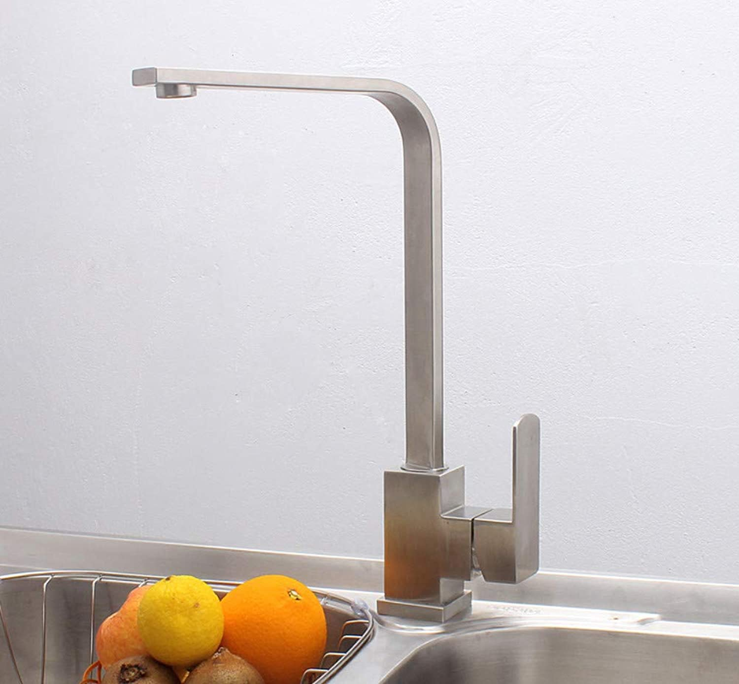 Stainless Steel Faucet Square Kitchen Faucet Hot and Cold Water Sink Sink Mixing Valve