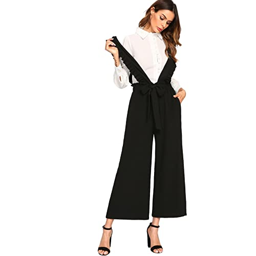 1dff1647d76 MAKEMECHIC Women s Tie Waist Wide Leg Culotte Palazzo Long Pants Ruffle  Overalls