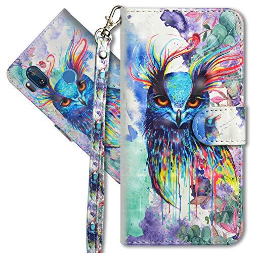 MRSTER Motorola One Hyper Handytasche, Leder Schutzhülle Brieftasche Hülle Flip Hülle 3D Muster Cover mit Kartenfach Magnet Tasche Handyhüllen für Motorola Moto One Hyper. YX 3D Colorful Owl