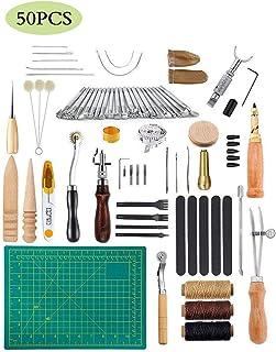 JFZS 50PCS Kit De Gravure sur Cuir Outils Et Fournitures en Cuir Fournitures De Kits De Travail en Cuir pour Couture Poinç...