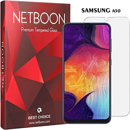 NETBOON Tempered Glass for Samsung Galaxy A50 Full Glue Edge to Edge Guard Anti Finger Print Screen Protector Transparent