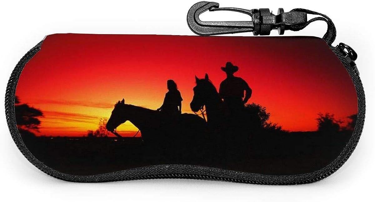 Texas Cowboy Glasses Case Unisex Eyeglasses Protective Case Zipper Eyeglass Box With Key Chain Universal Fits