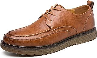 A-myt cómodos y suaves zapatos de tela de Oxford de los hombres con punta redonda cosida tres ojos con cordones cordones c...