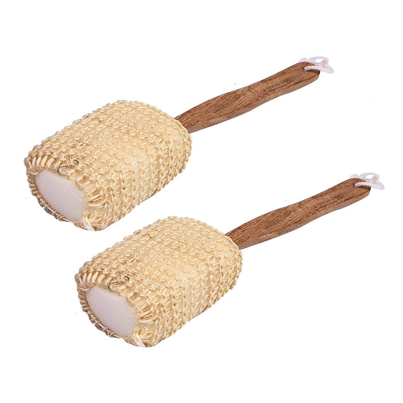 化粧現象リーTopbathy 2ピース入浴ボディブラシ付きウッドハンドル風呂loofahバックスクラバー剥離シャワーブラシ用男性女性