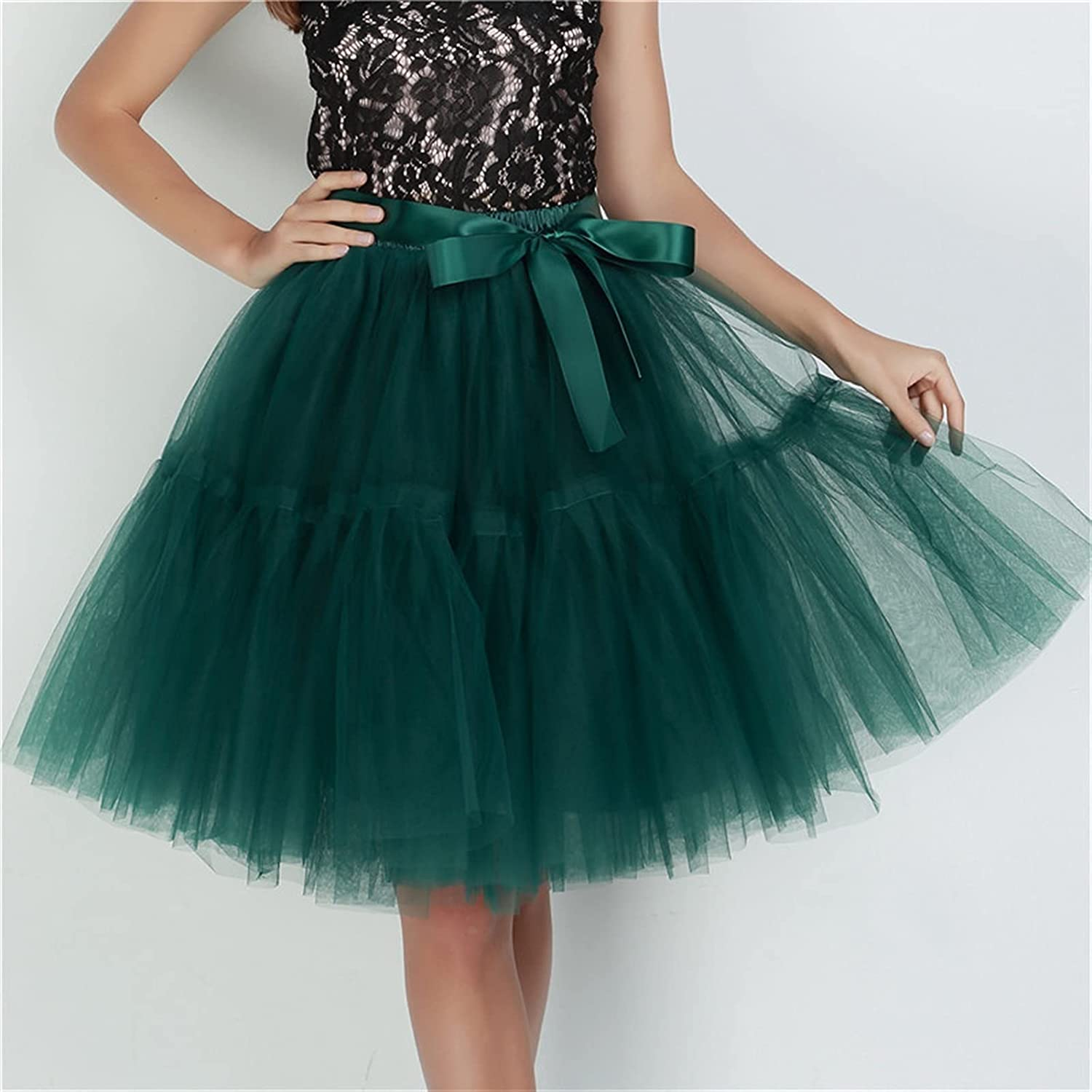 without logo Petticoat 5 Layers 60cm Tutu Tulle Skirt Vintage Midi Pleated Skirts Womens Lolita Bridesmaid Wedding (Color : Dark Green, Size : One Size)