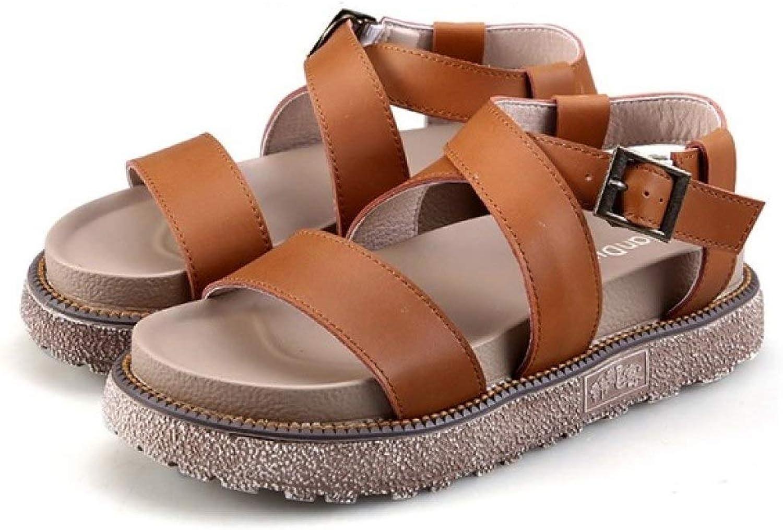 Hoxekle Woman's Roma Platform Cross Strap Sandals Ankle Buckle Open Toe Thick Sole Antislip Comfort shoes