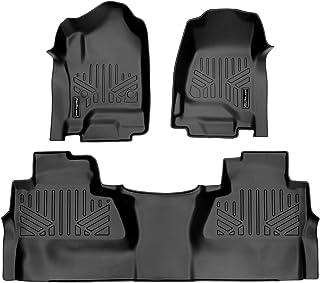 SMARTLINER Floor-Mats 2 Row Liner Set Black for Crew Cab 2014-2018 Silverado/Sierra 1500 - 2015-2019 2500/3500 HD (SA0136/...