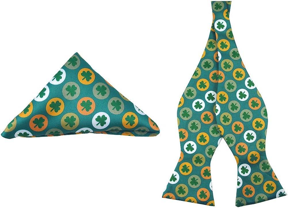 Jacob Alexander Men's St. Patrick's Day Shamrock Circles Self-Tie Bow Tie and Pocket Square Set