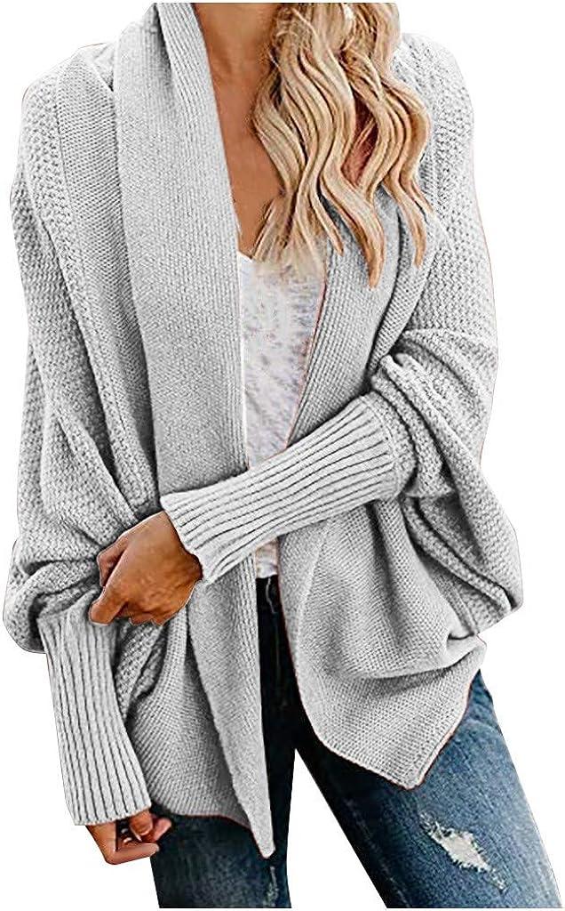 Womens Cardigan Solid Irregular Collar Knit Shirt Fashion Long Sleeve Sweater Unique Cuff Design Coat Jacket