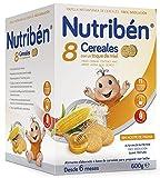 Nutriben Papilla 8 Cereales Galletas Maria con Toque de Miel, 600g