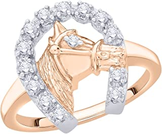Diamond Horse Shoe Fashion Ring in 10K Rose Gold (1/4 cttw) (G-H Color, I2-I3 Clarity) (Size-8.25)