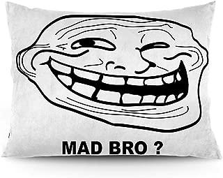 GULTMEE Throw Pillow Cushion Cover, Cartoon Style Troll Face Guy for Annoying Popular Artful Internet Meme Design, Decorative Standard Queen Size Printed Pillowcase, 16