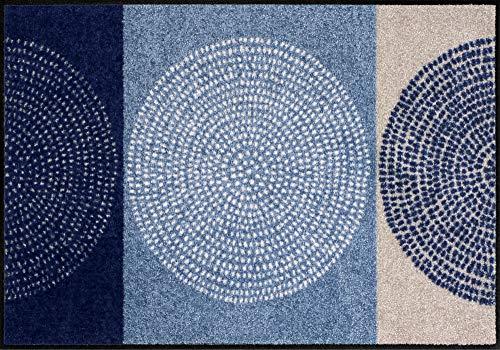 Efia Salonloewe Paillasson lavable, tapis d´entrée intérieur et extérieur, Motif: Nestor denim, 50 x 75 cm