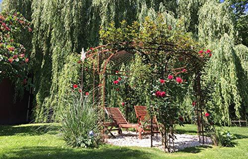 ELEO Florenz runder Rosen- und Rankpavillon mit Messingkugel, Ø 3,7 m (Oberfläche: roh/Edelrost)