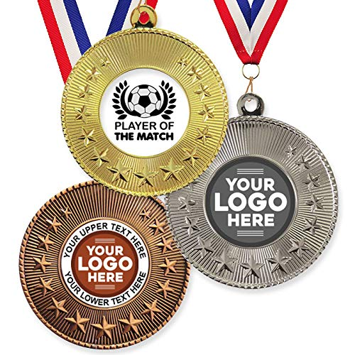 Trophy Monster Paquete de 10 medallas y cintas de metal de 50 mm, diseño de jugador de fútbol del partido y estrella estándar o su logotipo, personalizable, paquete a granel, cantidad 50,100,250 o 500