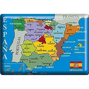 Artimagen Imán Mapa Ciudades España Negro 80x55 mm. Resina: Amazon.es: Hogar