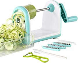 Ourokhome Zucchini Noodle Maker Spaghetti Spiralizer - 5 Blades Vegetable Slicer for Veggie Noodles and Curly Chips