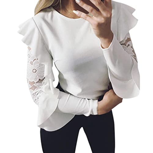 ff9e314d5857f8 TOPUNDER 2018 Ruffle Long Sleeve T Shirt for Women Lace Crewneck Top Loose  Blouse Evening