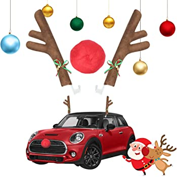 URATOT Christmas Car Decoration Set Christmas Car Reindeer Antlers Kit Christmas Light Bulb Magnets Car Accessories Decoration Kit for Winter Giving