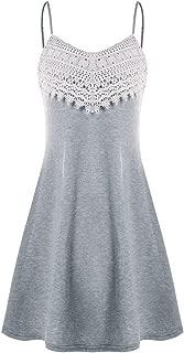 chouyatou Women's Crochet Chest Adjustable Spaghetti Strap Cami Slip Dress Sundress