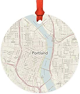 Andaz Press U.S. City Map Round Metal Christmas Ornament Gift, Portland, Oregon Vintage Map, 1-Pack, Long Distance College Going Away Study Abroad Birthday Christmas Gifts