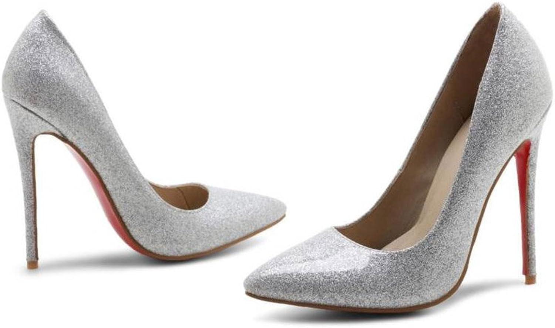 JIANXIN JIANXIN Die Frauentürme Sind Super High Heels Mit Flachen Einzelnen Schuhen Und Sexy Stilettos Im Frühling Und Sommer. (Farbe   Silber, Größe   38)  nicht zu vermissen!
