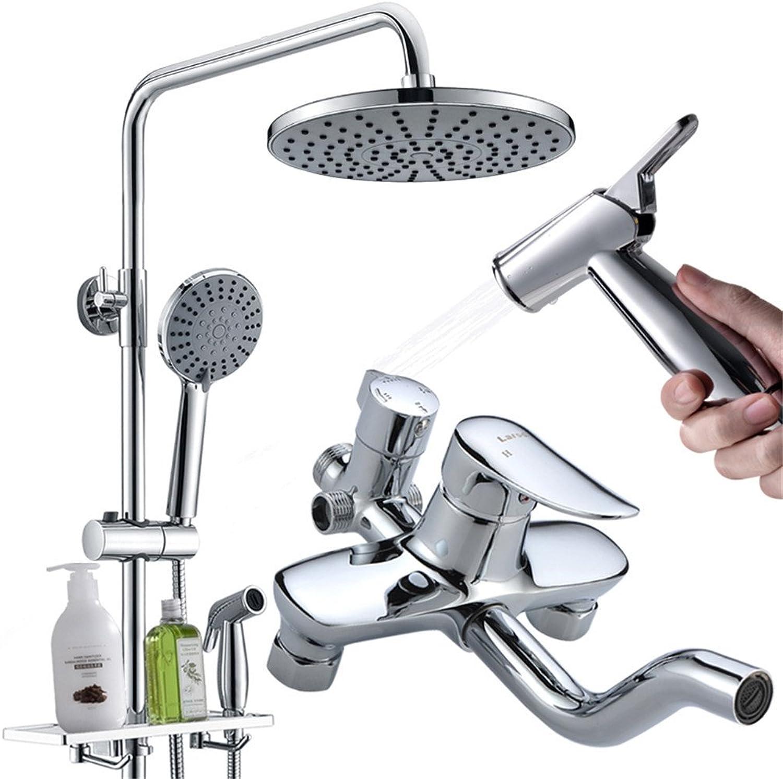 Bijjaladeva Wasserhahn Bad Wasserfall Mischbatterie WaschbeckenDusch-Kit Volle messinghhne Luftdruck Dusche mit Integriertem Regal mit mütterlichen Waschen Spritzpistole