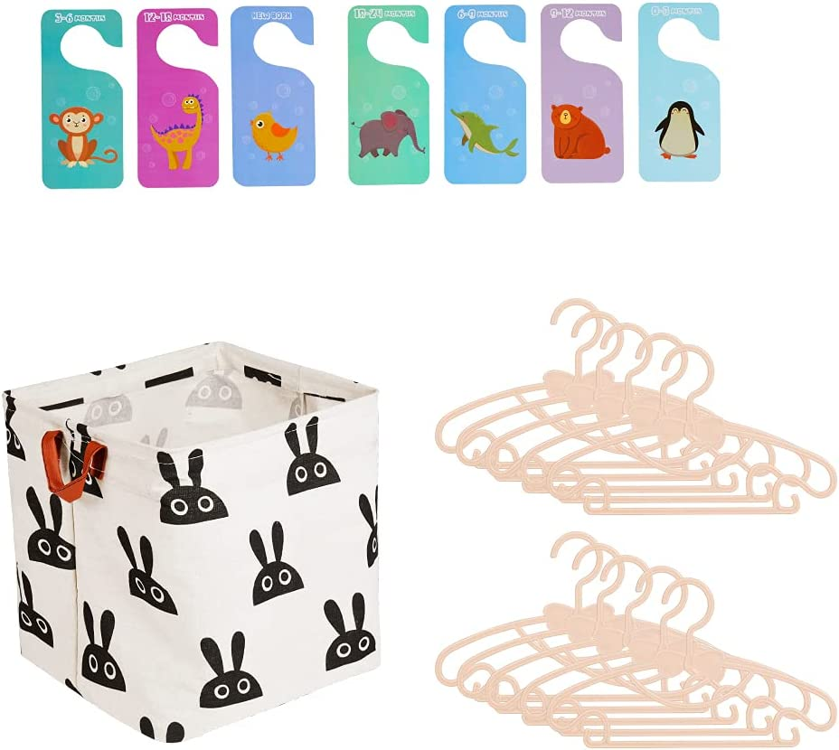 Nursery Closet Organizer and Storage Set - Hangers for Baby Clothes, Closet Size Dividers (Newborn Infant to Toddler), Large Collapsible Storage & Laundry Baskets - All in One Solution