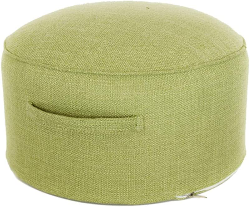 SNY Round Storage Ottoman Cover Washable Vanity Stool Ottoman Pouf Foot Tufted Pouf Ottoman Movable Foot Rest for Living Room Beige One Size