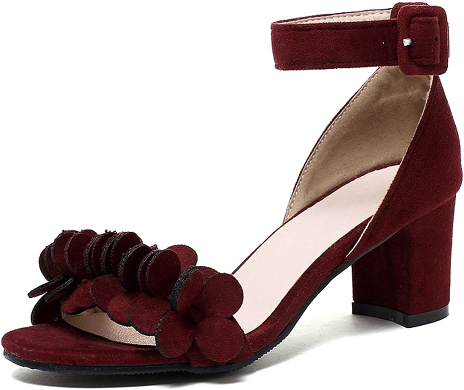 Flowers Black Wine Women shoes Ankle Strap Square Heels Dating Party Female Sandals