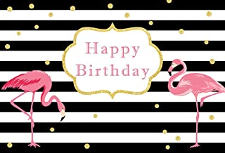 MEHOFOTO 7x5ft Pink Flamingo Happy Birthday Photo Booth Background Props Black and White Stripe Gold Polka Dots Girl Birthday Party Decorations Banner Photography Backdrops