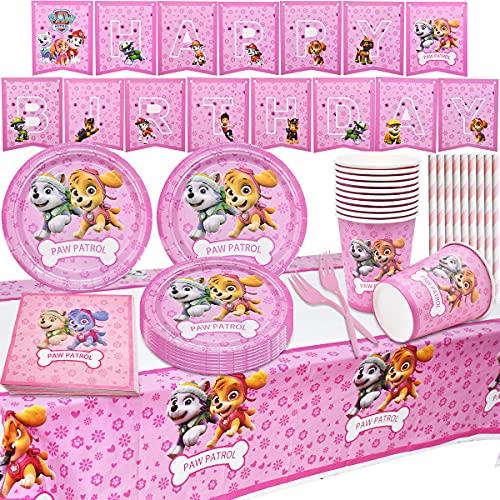 Miotlsy Vajilla Diseño de Paw Patrol reutilizableAccesorio - cumpleaños Patrulla Canina Juego de vajilla para fiestas, decoración de cumpleaños para niños tazas servilletas manteles tenedores