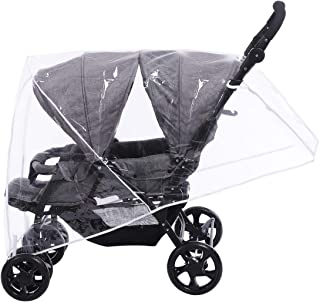 Innokids Stroller Rain Cover for Double Stroller - Baby Stroller Weather Shields - Universal Size to Fit Most Twin Strollers (Tandem Stroller)