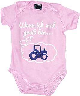 Mikalino Babybody mit Spruch für Jungen Mädchen Unisex Kurzarm Wenn ich mal groß Bin. Traktor | handbedruckt in Deutschland | Handmade with Love