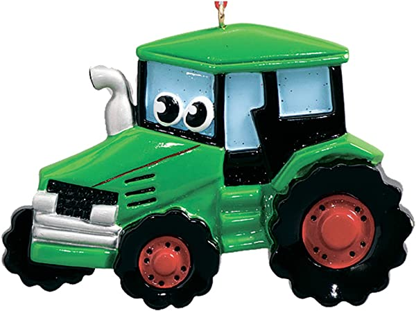 Personalized Tractor Toy Christmas Tree Ornament 2019 Green Farm Machine Eyes Field Trailer Boy Harvest Toddler Construction Holiday Cars Engine Decoration Kid Year Free Customization