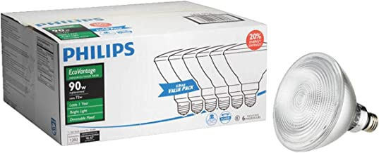 Phillips 459255 72 Watt E26 Par38 Warm White Flood Halogen Dimmable Light Bulb 6 Count