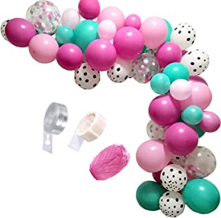 Surprise Party Decorations Balloons Garland Kit,90 Pcs Rose Red Pink Sea Foam Blue White Polka Dots Latex Balloons Surpris...