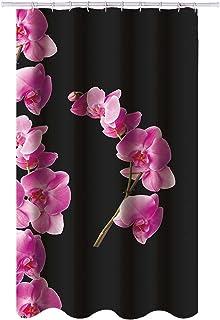 MSV 140800 Lanyu - Cortina de ducha, poliéster y plástico, 180 x 200 x 0.1 cm, color negro