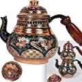 Turkish Copper TeaPot Kettle for Stovetop as Tea Pots Set - Stainless Whistling for Serving and Drinking Tea Maker