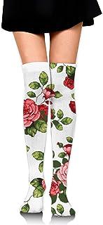 Calcetines de tubo de estampado de hojas verdes de cártamo para mujer Medias altas sobre el muslo de la rodilla para niñas 65 cm / 25,6 pulgadas