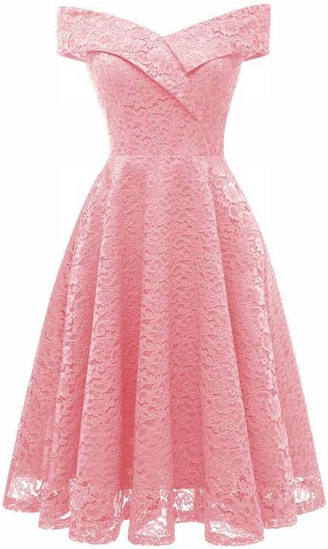 Haiyugua OneNeck Collar Pure Sleeveless Vintage Lace Dress