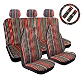 AOTOMIO 10PCS Boho Front and Rear Seat Covers Flower Style Blue Baja Blanket Car Seat Covers Ethnic Style Coarse Flax Cloth Hippie Full Covers Universal Fit
