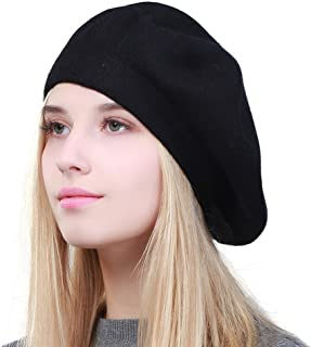 GEEBRO Solid Color Warm Wool Spring Berets French Beanie Beret Hat for Women