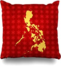Ahawoso Throw Pillow Cover Pillowcase Philippine Asia Map Philippines Abstract Cartography Travel Contour Country Geography Outline Design Zippered Square Size 18 x 18 Inches Home Decor Cushion Case