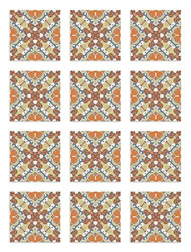 Panorama Azulejos Adhesivos Cocina Baño Pack de 48 Baldosas de 15x15 cm Hidráulico Oriental Mosaico Original - Vinilos Cocina Azulejos - Revestimiento de Paredes - Cenefas Azulejos Adhesivas