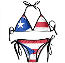 Womens Two Piece Swimsuit Adjustable Puerto Rico Flag Design Bikini Set