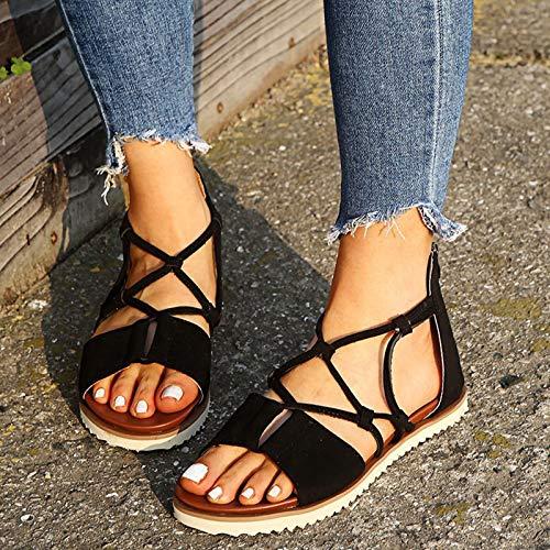 MTHDD Femmes Sandale Chaussures Plates Léopard Zip Rope Cross Chaussures Open Toe Sandals,Noir,41