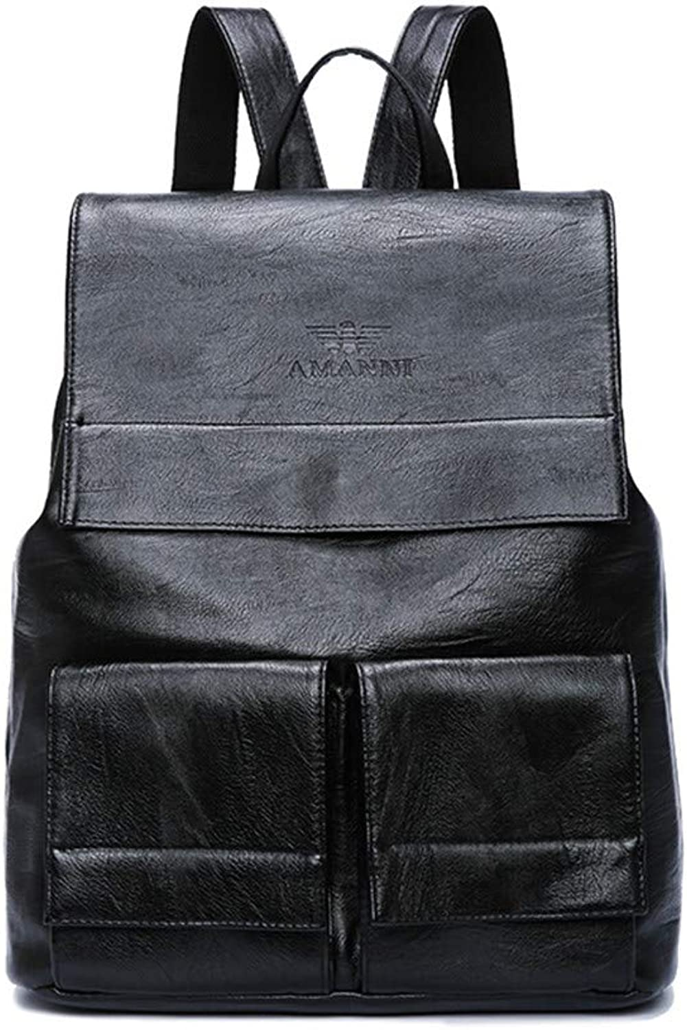 Casual Daypacks, Backpack Ladies Leather Backpack Casual AntiTheft LargeCapacity Travel Bag Retro Student Bag Computer Bag (color   Black)