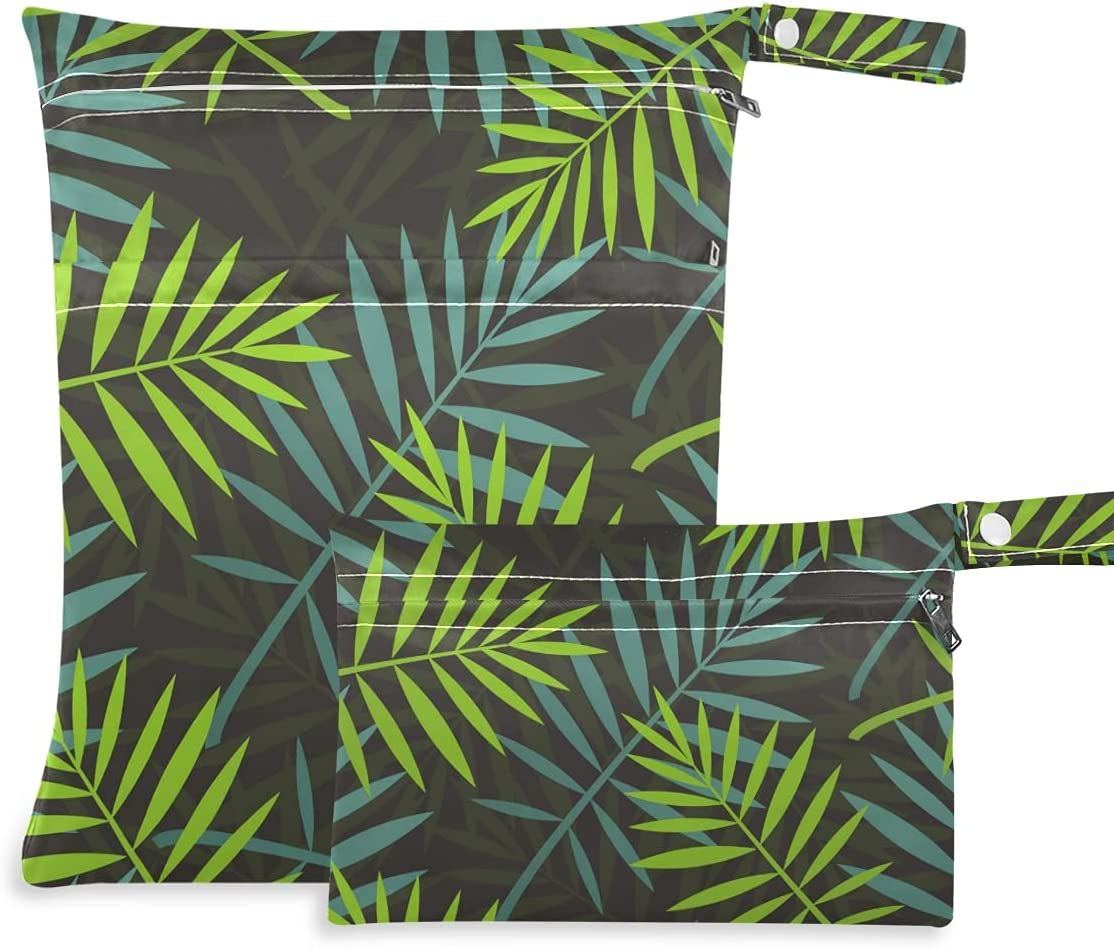 OTVEE Tropical Daily bargain sale Leaves Of Palm Tree Seamless Dry Max 86% OFF Bag 2 W Pcs Wet