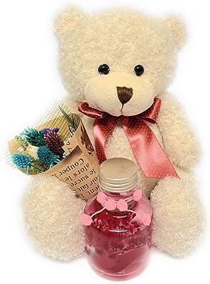 【NICHIFLRO】 ニチフロ プリザーブドフラワー ハーバリウム 花とクマさん 成人式お祝い 卒業祝い 卒園記念 入学祝い バレンタイン ホワイトデー 誕生日 母の日 贈り物 プレゼント 可愛い ミニブーケとハーバリウム・ベアセット<ピンク・プティ>